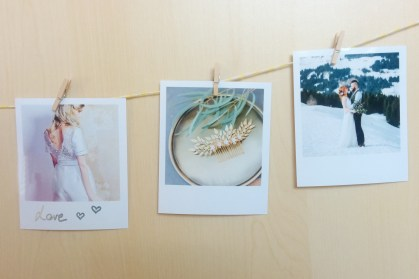Polaroid sur cordelette de la wedding box Cheerz x ZankYou